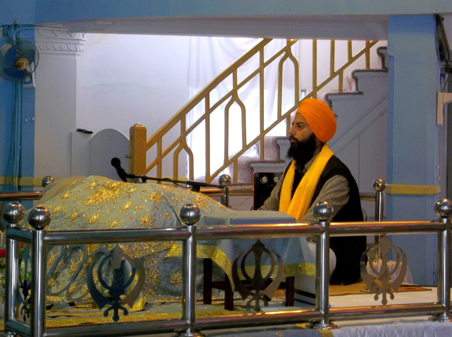 Sikh Pothi Sahib (custodian) of the Granth Sahib (Holy Book) - in the (Gurdwara) - Sikh Temple - Hong Kong