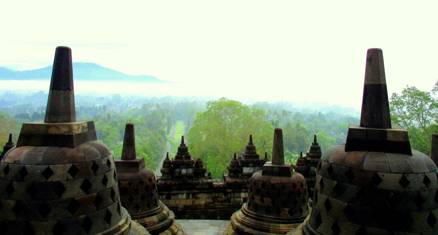 View from Borobudur  Buddhist Shrine - It has Nine Levels - World Heritage Site - Central Java